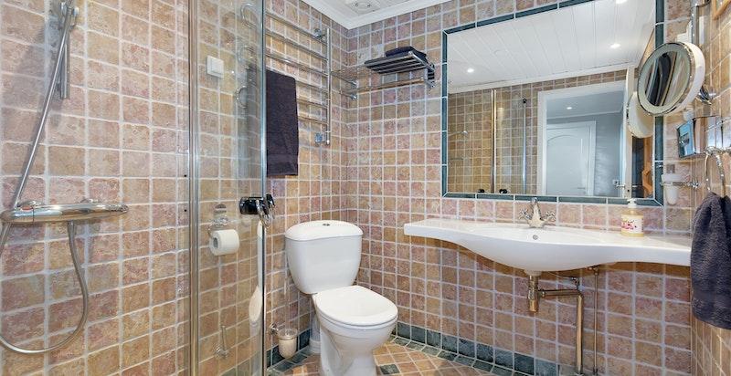 Bad med wc, dusj og inngang til badstue