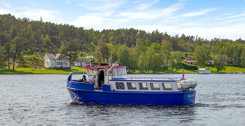Fergen fra fastlandet til Hankø - Bruker 3 min over og deretter 10 min å gå til hytta