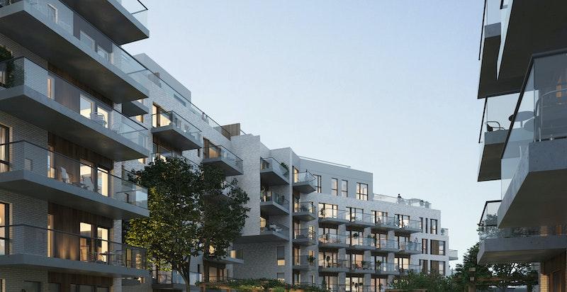 Velkommen til Ensjøhøyden 2305! Ny og moderne 2-roms i 3. etg. med vestvendt balkong, felles takterrasse og god standard. Ferdigstilles Q3 2019. (Kun ment som illustrasjon)