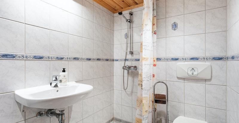 Bad i kjeller med tilgang til badstue