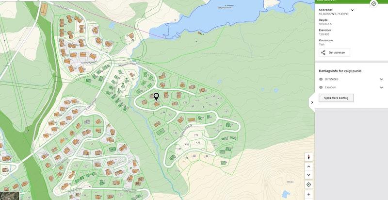Løkjestaulkilsvegen 37 zoomet inn på kommunekart.com