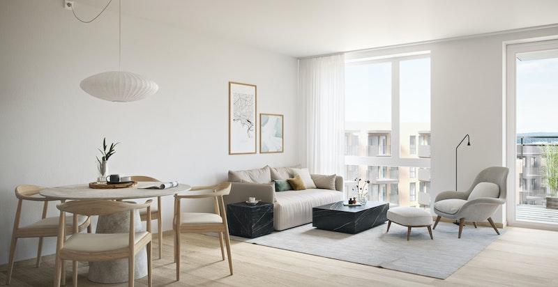 Stue med spiseplass i leilighet 201 - luftig hvit