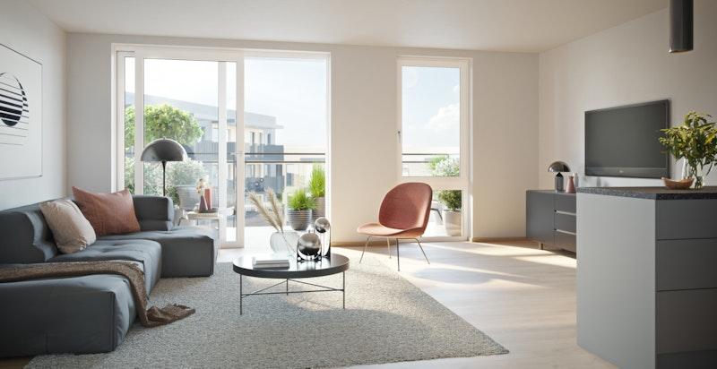 Kjøkken og stue i leilighet 207- konsept Nordisk varm