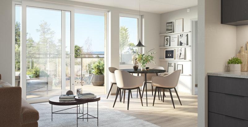 Kjøkken og stue i leilighet 204
