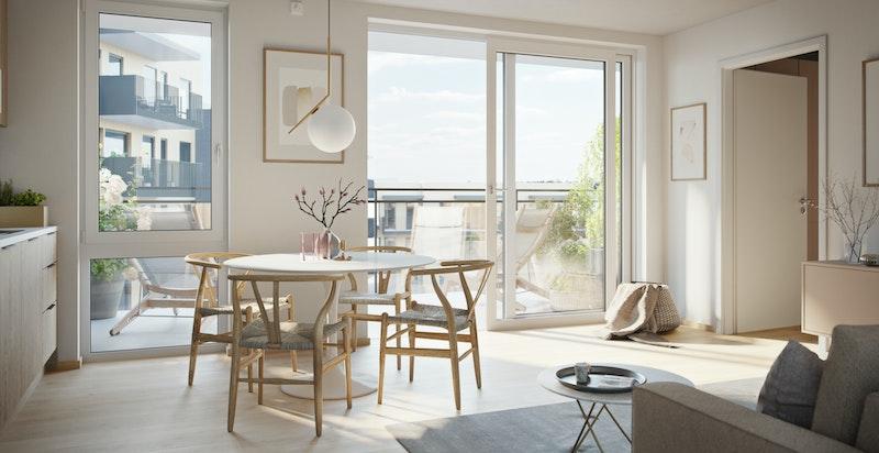Kjøkken med romslig spiseplass i leilighet 206 - konsept Luftig hvit