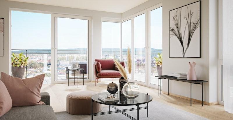 Flott lys stue i leilighet 205 med store vinduer