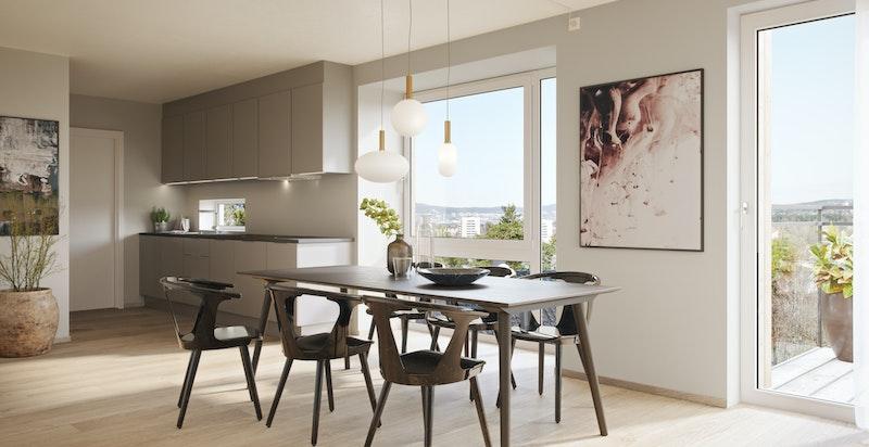 Delvis avdelt kjøkken med stor spiseplass i leilighet 205