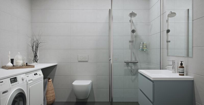 Badene har storformat fliser, vegghengt WC og dusjvegger i glass - Nordisk varm