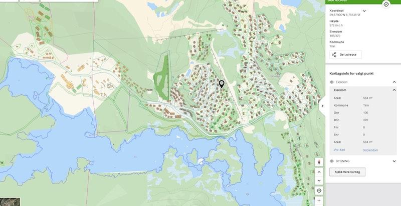 Staulsvegen 52 zoomet inn på kommunekart.com