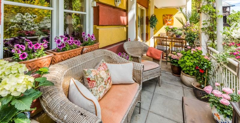 Solrik sydvendt terrasse med utgang til usjenert hage