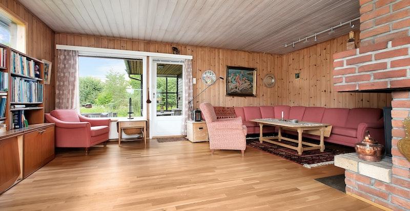 Stue med peis, utgang til stor sydvestvendt terrasse