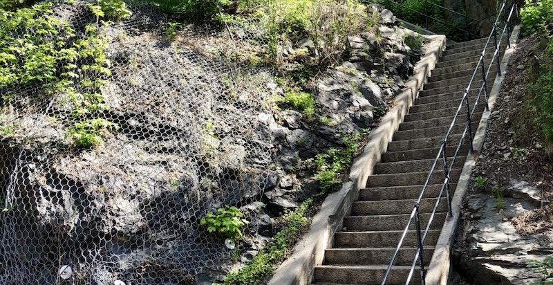 Gangvei/trapp som leder opp til Gimle/Thomas Heftyes gate