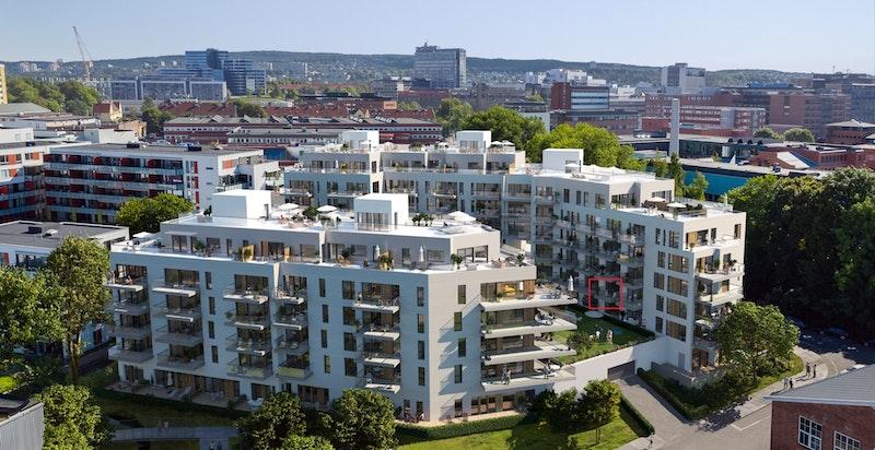 Velkommen til Ensjøhøyden 2204! Ny og flott 2-roms med vestvent balkong, felles takterrasse og god standard. Perfekt førstegangskjøp/utleie. (Kun ment som illustrasjon av fasade)