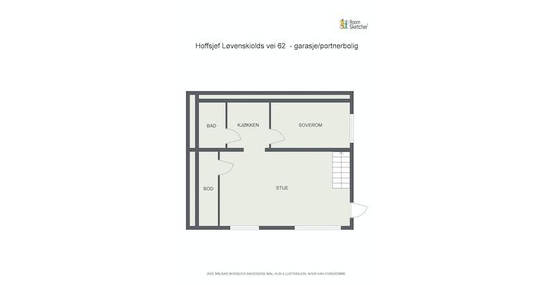 Plantegning garasje/portnerbolig 1. etasje
