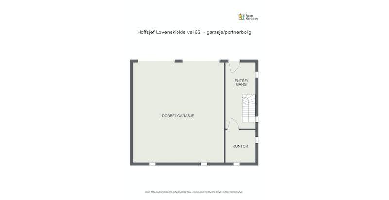 Plantegning garasje/portnerbolig 2. etasje