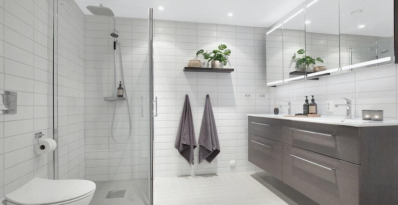 Stort, delikat baderom med bl.a. dobbel servant og waterfall dusj. Opplegg og plass for vaskemaskin og tørketrommel