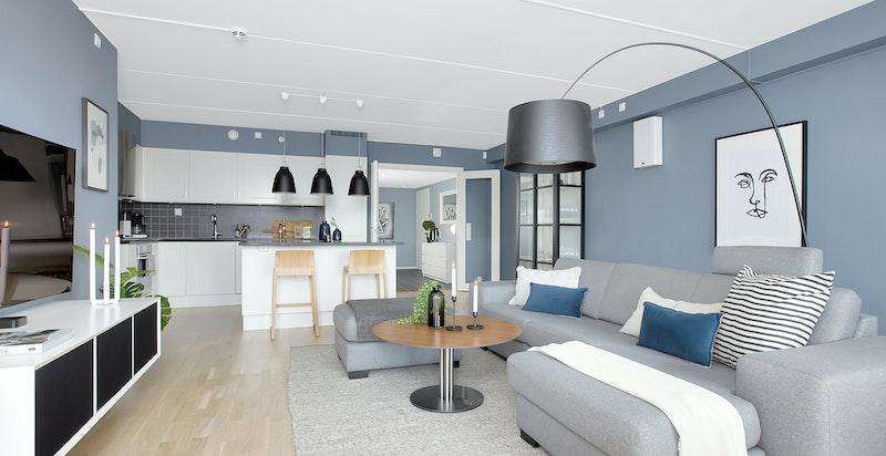 Leiligheten har en meget god planløsning - åpen løsning mellom stue/kjøkken