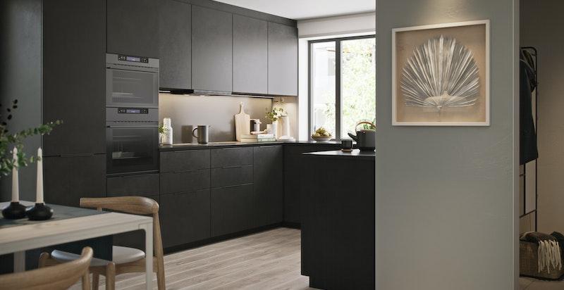 Kjøkken med sorte matte fronter. Det er totalt 19 vederlagsfrie front/fargevalg fra Mobalpa. Illustrasjon.