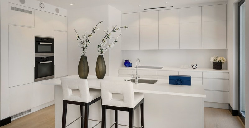 Kjøkken designet av Helene Hennie. Integrerte hvitevarer fra Miele.