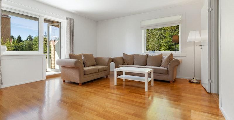 Stue med plass til både sofa og spisestue