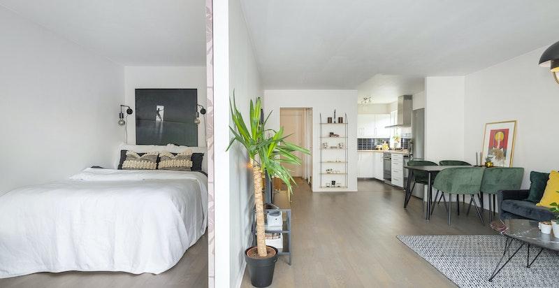 Koselig soverom med samme utsyn som stuen. Soverommet har plass til dobbeltseng.