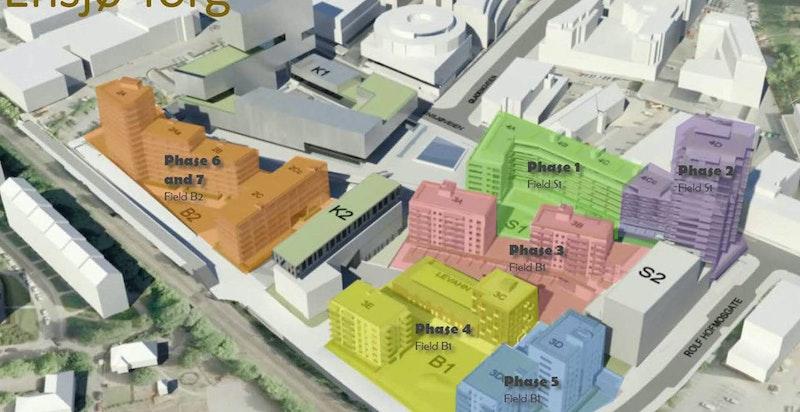 Oversikt byggetrinn for prosjektet Ensjø Torg. Leiligheten ligger i trinn 2 (lilla).