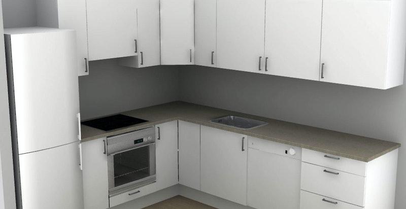 Illustrasjon av kjøkken.