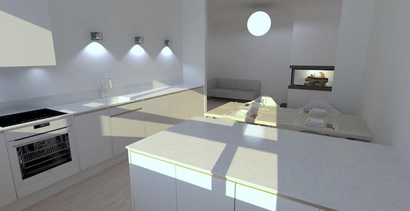 Illustrasjon om hvordan stue / kjøkkendelen vil se ut dersom man flytter kjøkkenet ut og lager et ekstra soverom. (Kjøkkenarkitektene AS)