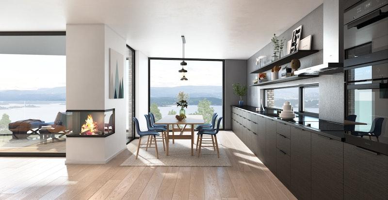 Planløsning spisetue med kjøkken og peis i hus A og B - NB! Bildet er kun ment som illustrasjon og avvik kan forekomme