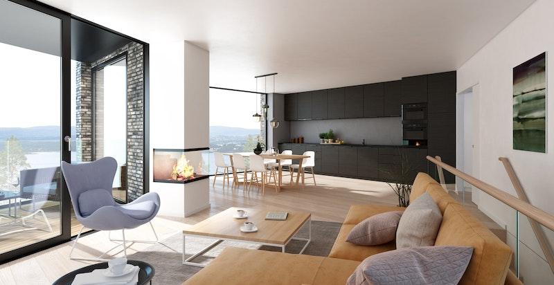 Planløsning stue mot kjøkken i hus A og B - NB! Bildet er kun ment som illustrasjon og avvik kan forekomme
