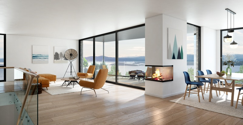 Se video ved å klikke til høyre på bildet. Planløsning stue med terrasse og peis i hus A og B - NB! Bildet er kun ment som illustrasjon og avvik kan forekomme