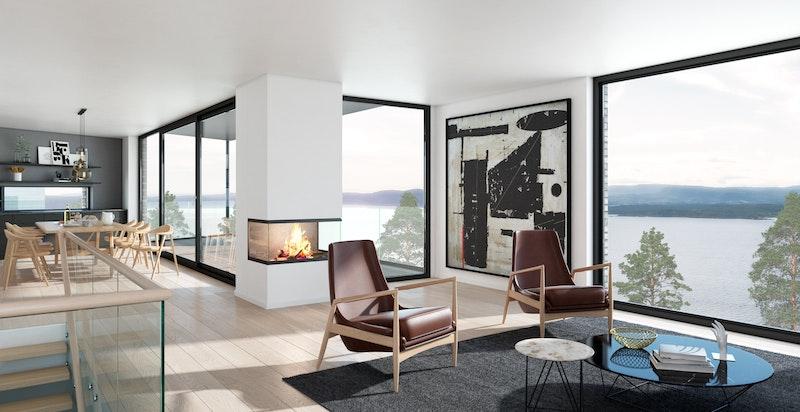 Planløsning stue med terrasse og peis i hus D - NB! Bildet er kun ment som illustrasjon og avvik kan forekomme