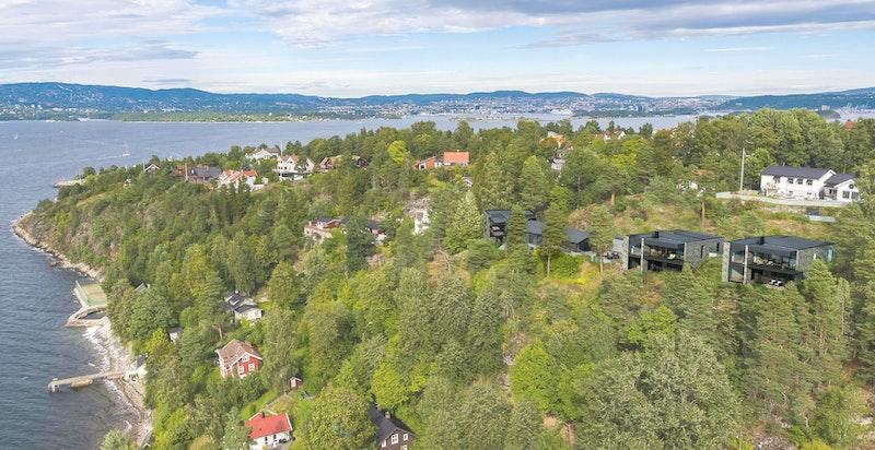 Oversiktsbilde prosjekterte boliger i terrenget - NB! Bildet er kun ment som illustrasjon og avvik kan forekomme