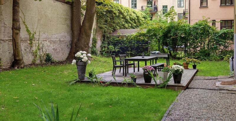 Meget koselig bakgård med beplantning og sittegruppe