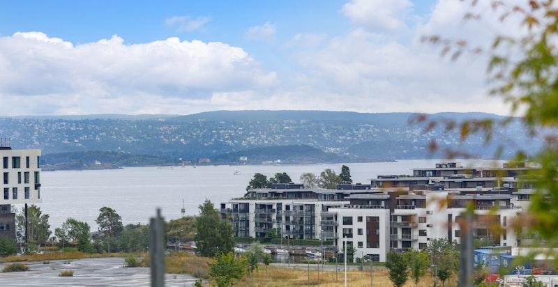 Nydelig utsikt fra takhagen, her er du skjermet fra omverden, men samtidig nærme alt av fasiliteter