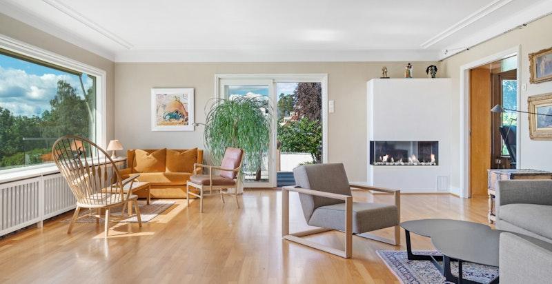 Stue med gasspeis og utgang til terrasse og hage