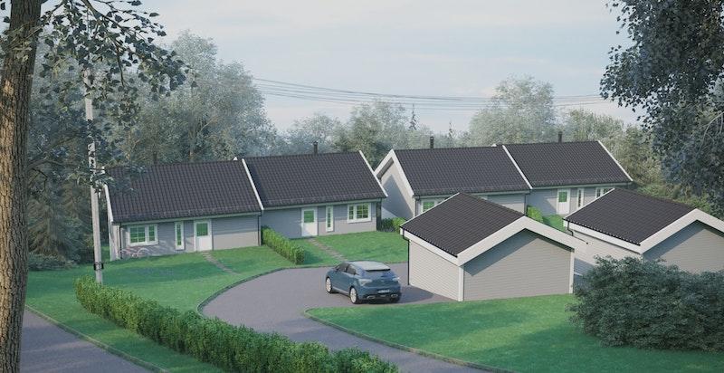 -Oversikt fra innkjøring - fellesareal og garasjer-