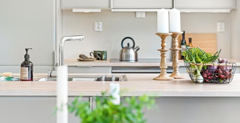 Kjøkkeninnredning fra Sigdal, betydelig oppgradert ift standard leveranse i prosjektet.