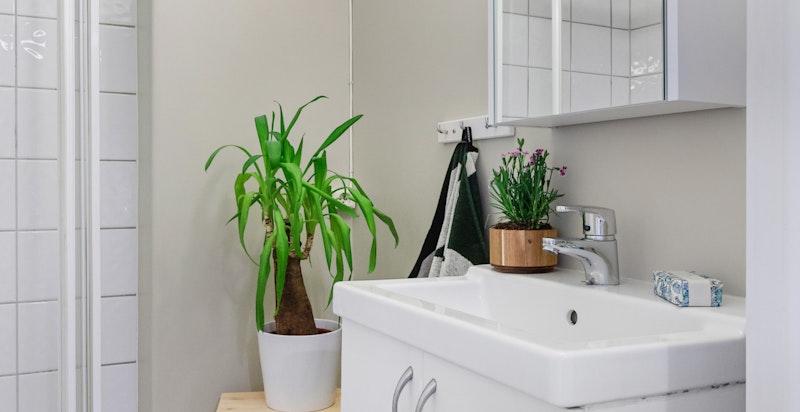 Badet har opplegg for vaskemaskin, det er også fellesvaskeri i kjeller