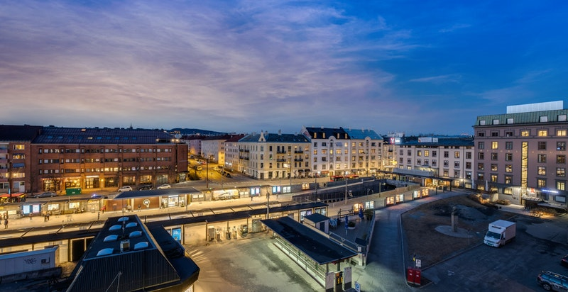 Gangavstand til kollektivknutepunktet Majorstuen, med både T-bane, trikk- og bussforbindelser