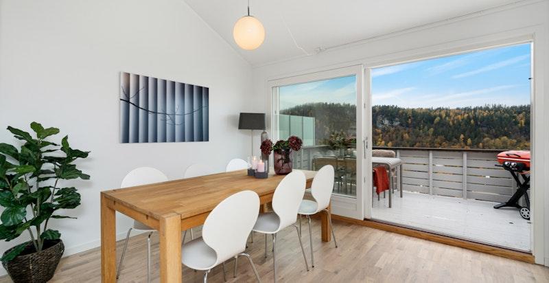 De store vindusflatene gir rommet rikelig med dagslys
