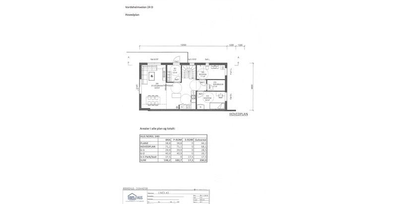 Planskisse hovedplan - hus D (nord)