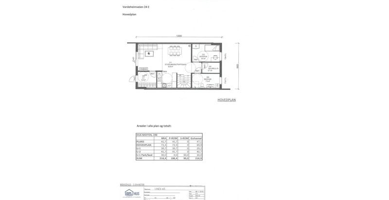 Planskisse hovedplan - hus E (midt)