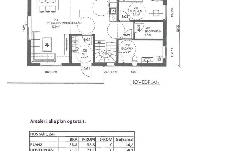 Planskisse hovedplan - hus F (sør)