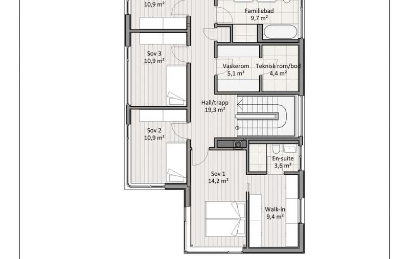 Plantegning 2. etasje hus A og B