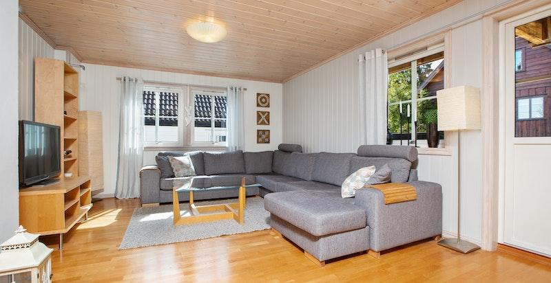 TV-stue med utgang til delvis overbygd terrasse.