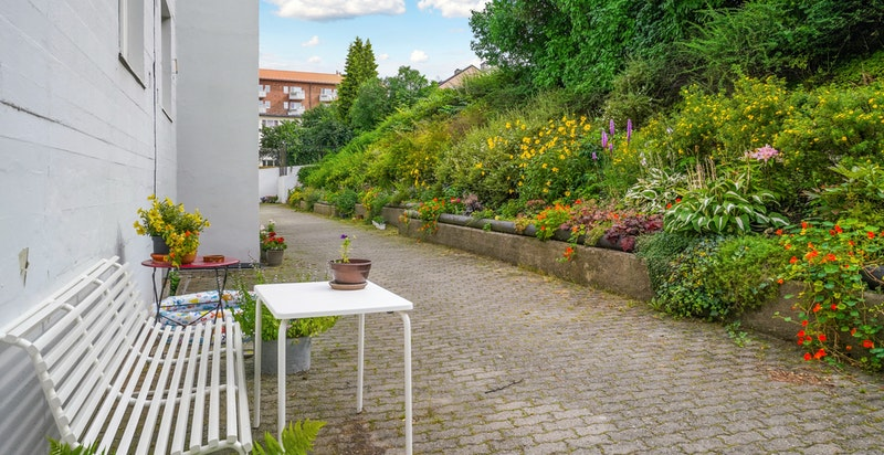 Hyggelig hage i bakgården