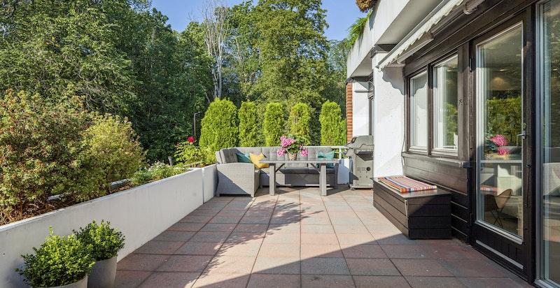 Herlig terrasse med grønt utsyn.