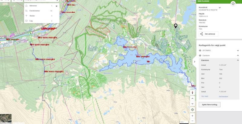 Langetjønnvegen 71 zoomet ut på kommunekart.com