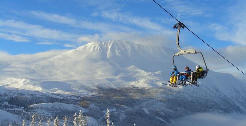 Alpinanlegg i spektakulære omgivelser. Foto Gaustablikk skisenter
